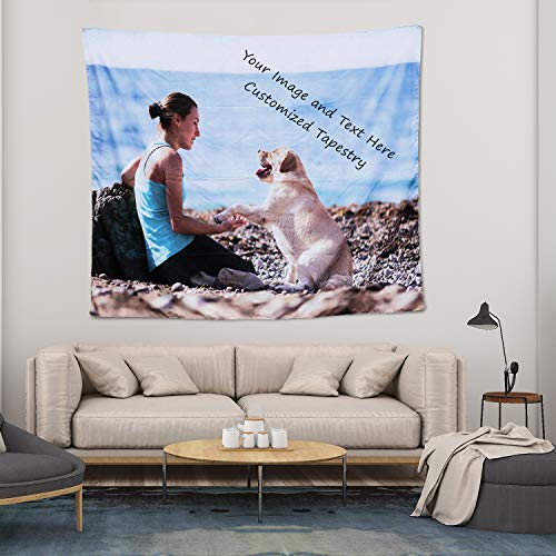 Personalized Image Tapestry Wall Customize Your Picture and Text Print, Custom Tapestry for Pets and Family, Suitable for Decorations for Living Room and Bedroom Birthday Wedding Gift 30' L X 37' W