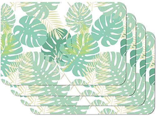 Venilia Salvamanteles, Mantelería, Mantel Individual para el Comedor, Apto para Alimentos, Vert, 4 tajada, 45 x 30 cm, 59107, Pri Palm Tree, 30 x 45 cm