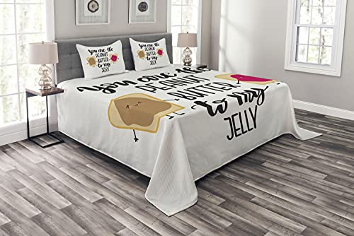 Ambesonne Saying Bedspread, Kawaii Style Funny Design You are The Peanut Butter to My Jelly Breads, Decorative Quilted 3 Piece Coverlet Set with 2 Pillow Shams, King Size, White and Multicolor