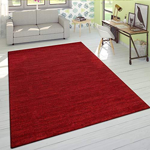 Tappeto Soggiorno Pelo Corto Moderno Monocolore Morbido Velluto mélange Rosso, Dimensione:120x170 cm