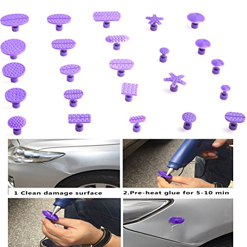 HiYi 24pcs Different Size Tabs Combo Paintless Dent Repair Hail Repair Tools Use for Glue Puller DIY Auto Body Tools Dent Fix Tools