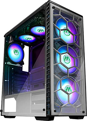 MUSETEX Phantom Black ATX Mid Tower Desktop Computer Gaming Case USB 3.0 Ports Tempered Glass Windows with 120mm LED RGB Fans Pre-Installed (6 RGB Fans)