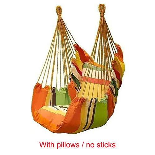 Haihuic Hängesessel - Hängende Seilschaukel für Innen, Außen, Garten, Terrasse, Veranda, Hof - 2 Sitzkissen enthalten - 150 kg Lastgewicht