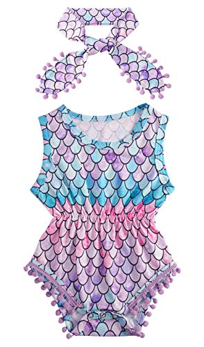 Newborn Infant Baby Girls' Bright Pink Purple Lavender Blue Green Colourful Mermaid Printing Hawaiian Romper Casual Soft Cotton Outfit Leotard with Headband 0-3M