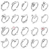 20 Pcs Adjustable Rings Set for Women - Finger Rings Pack Stackable Rings for Teens- Cute Rings for Teen Girls -in Gold and Silver Tone (#2-Silver Tone)