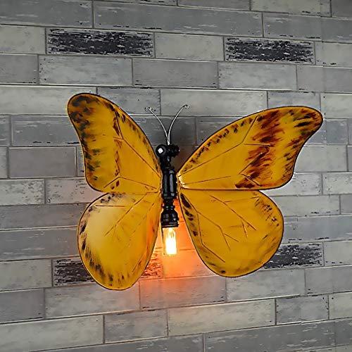 ZZYJYALG La decoración restaurante Puntales Tubo bricolaje ligera pared amarillo mariposa lámpara pared hierro industrial retro tubo agua decoración pared lámpara vendimia E27 lámpara pared lámpara B