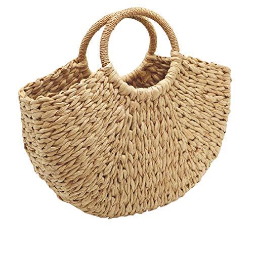 Dwqlx Neue Handgemachte Tasche Frauen Sommer Strand Weben Damen Papier Stroh Tasche Eingewickelt Strandtasche Moon Shaped Bags @ C