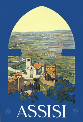 """T13 Vintage 1920 Italy Assisi Perugia Italian Travel Poster Re-Print - A4 (297 x 210mm) 11.7"""" x 8.3"""""""