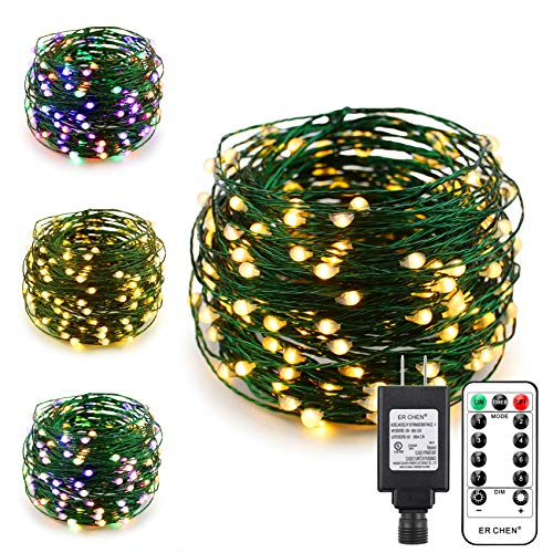 ErChen Dual-Color LED String Lights, Green Copper Wire Plug in 66 FT 200 LEDs Dimmable Fairy Lights with UL Adapter Remote Timer 8 Modes for Christmas Party Wedding (Multicolor/Warm White)