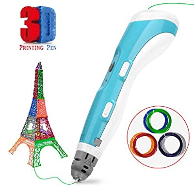 Gifort 3D Printing Pen 3D Crafting Drawing Printer Pen Compatible with 1.75mm PLA and ABS Filament, Arts and Crafts DIY Kit Kids Creative Drawing Toy (Blue)