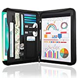 MoKo Zippered Leather Padfolio Portfolio Folder, Professional Interview Resume Document Organizer with 11