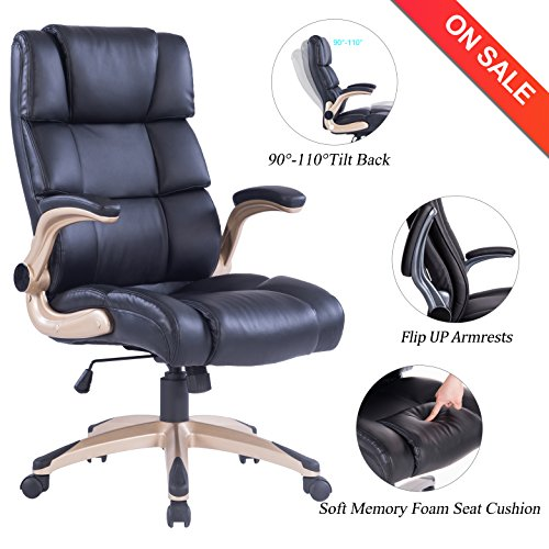 Vanbow High Back Memory Foam Leather Office Chair