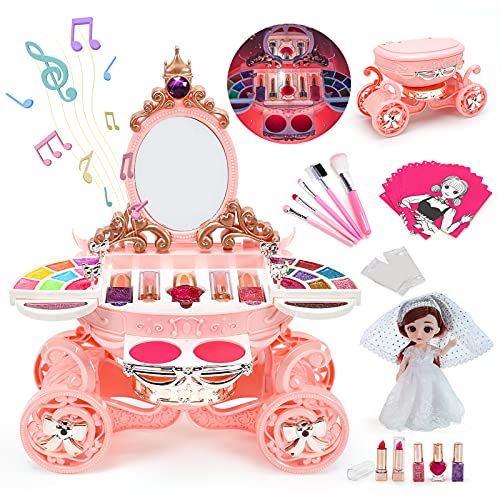 EveStone Kids Makeup Kit for Girl, 47PCS Washable Makeup Set with Non Toxic Real Cosmetic, Princess Doll Toys, 3 in 1 Play Make Up Christmas Birthday Gift for Toddler Children Age 3 4 5 6 7+ Year Old