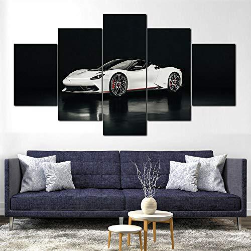 MTRSLH Cuadro En Lienzo,Imagen Impresión,Pintura Decoración, Cuadro Moderno En Lienzo 5 Piezas,Coche Pininfarina Battista 2020,Murales Pared Hogar Decor XL 100x55cm