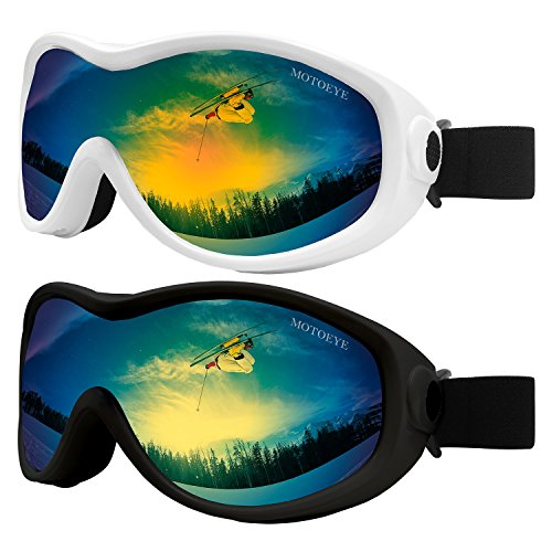 MOTOEYE Snow Ski Goggles Pack of 2,Snowboard Skiing Goggle for Kids,Youth,Men,Women,Children Boys Girls with Anti-Fog Lens Cloth,Anti-Glare UV Protection Lenses,Wind Resistance