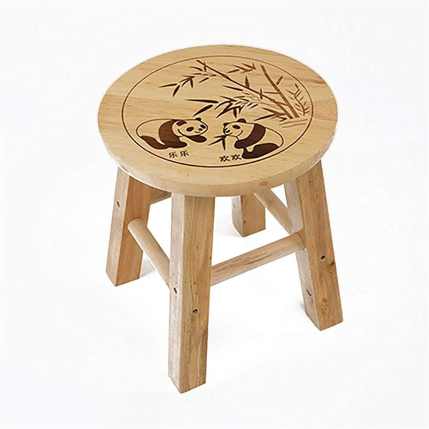 European Chair Solid Wood Small Round Stool, Panda Stool Change shoes Stool Bathroom Stool Simple Stool Wooden Stool Stool (Size   25  25cm)