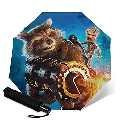 Rocket Raccoon and Groot paraguas de tres pliegues para bebé automáticamente se abre y cierra plegable protección UV para viajes y cómodo transporte