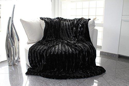 Brandsseller - Couverture Plaid Imitation Fourrure à Carreaux des Deux côtés Formidable Douceur 150x200 cm Couleur Noir