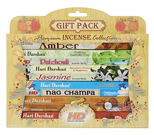 Hari Darshan - Set de regalo de incienso con aroma de la India, paquete de regalo, 6 paquetes de 120...