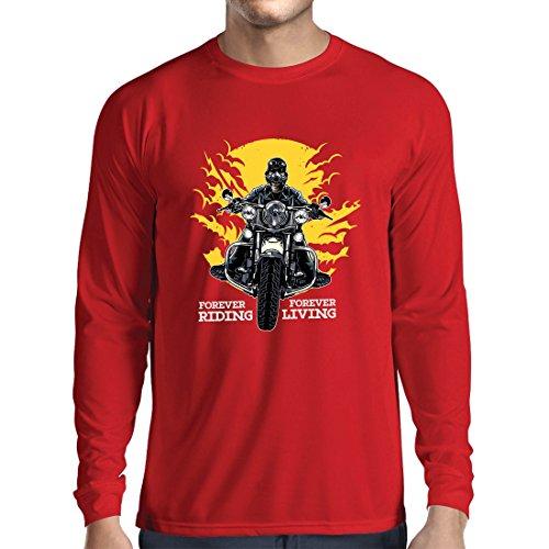 lepni.me Camiseta de Manga Larga para Hombre para Siempre en Motocicleta, Vida eterna: eslóganes de Motos, Citas de Motos, Ideas de Regalos para Motociclistas (Small Rojo Multicolor)