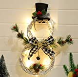 XIGU Christmas Wreath Made of Rattan with LED Lights, Hanging Garland for Front Door Decoration Winter House Decoration, Decorative Wreath Fir Wreath Advent Wreath Christmas Christmas Decoration