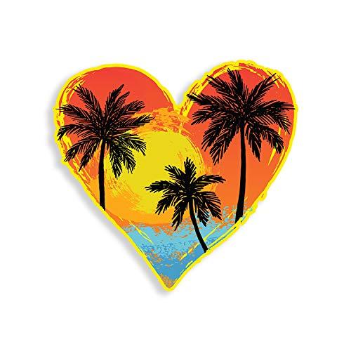 Beach Palm Tree Heart Sticker Ocean Scene Car Truck Window Bumper Vinyl Decal Cooler Ocean Coastal Graphic