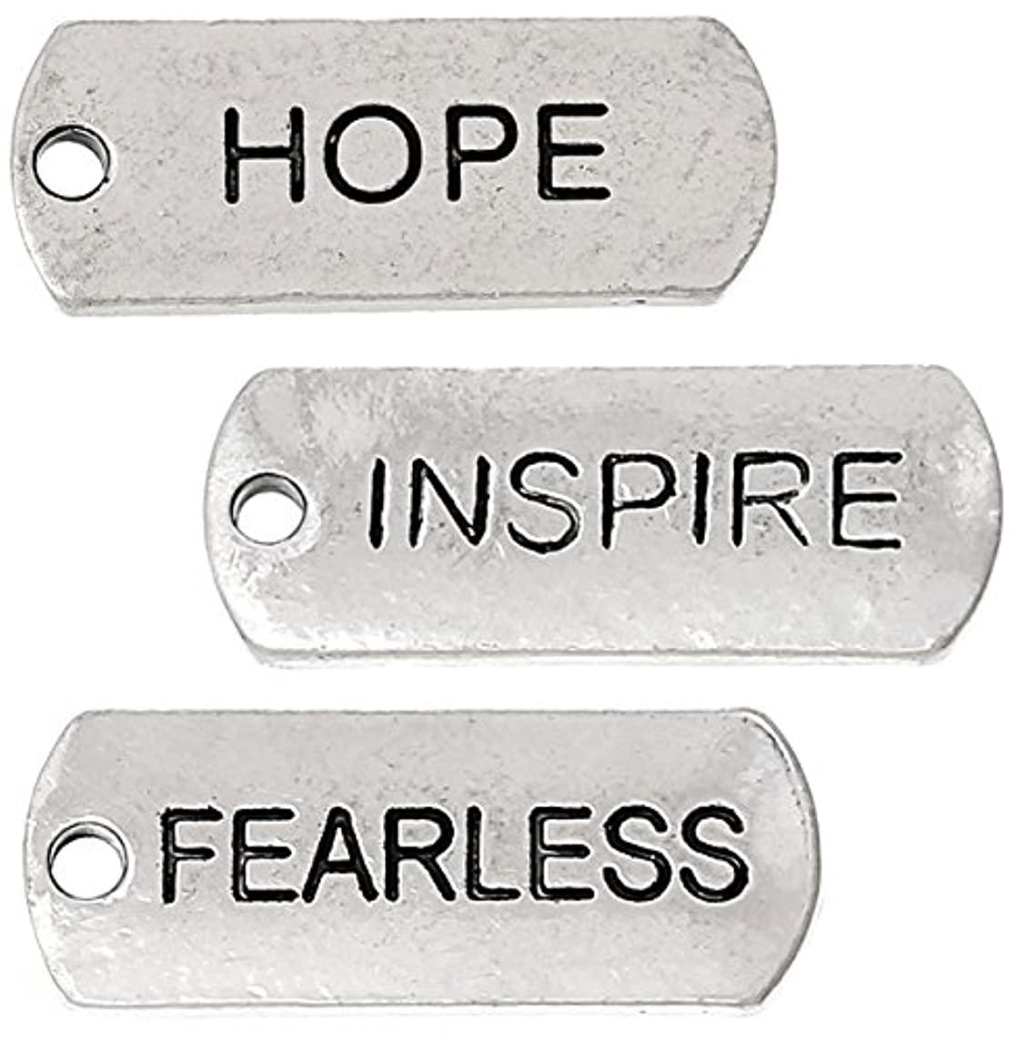 87 Pc Inspirational Message Charm Pendants, Silver Tone (Hope, Inspire, Fearless)