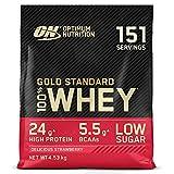Optimum Nutrition Gold Standard 100% Whey Proteína en Polvo, Glutamina y Aminoácidos Naturales, BCAA, Fresa Deliciosa, 151 Porciones, 4,53kg, Embalaje Puede Variar