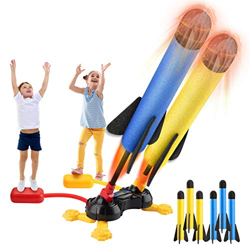 SHAWE Rocket Launcher Toy, Outdoor Jump Dueling Launcher Rockets for Kids with 2 Launchers and 6 Colorful Foam Rockets, Air Rocket Great for Summer Activities Games Party Boys Girls Age 3 4 5 6 7 8