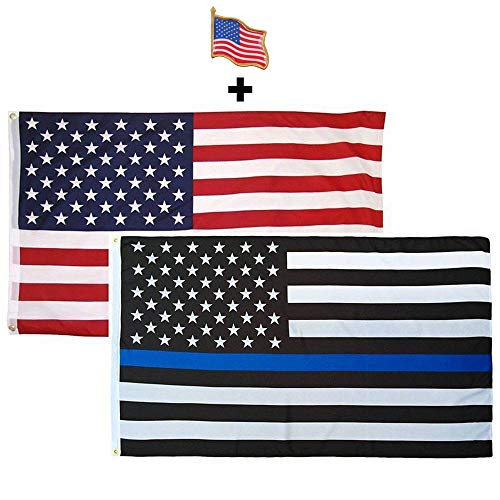 HomeSmith Combo Pack 3'x5' Thin Blue Line + USA American Flag + Waving Flag Lapel Pin Police Honoring Law Enforcement Officers Flags Vivid Color and UV Fade Resistant Polyester with Brass Grommets