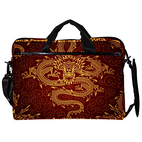 Unisex Computer Tablet Satchel Bag,Lightweight Laptop Bag,Canvas Travel Bag,13.4-14.5Inch with Buckles Chinese Gold Dragon Red Classic