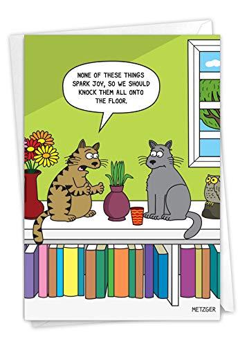 NobleWorks, Cat Spark Joy - Funny Card for Birthdays (with Envelope) - Crazy Cat Bday Notecard, Pet Animal Cartoon Greeting C7297BDG