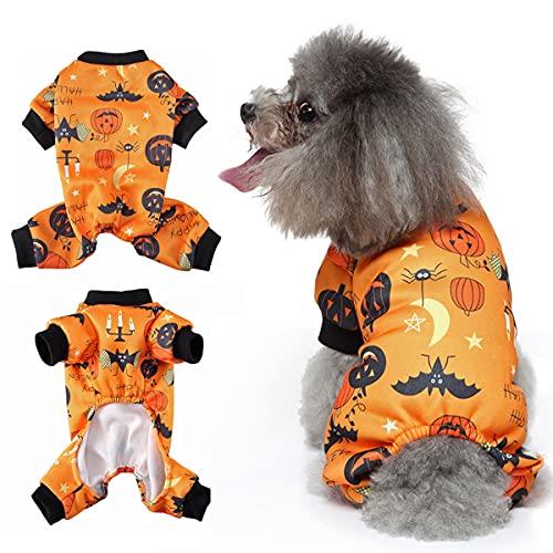 Mosucoirl Halloween Haustier Hundekostüm, Hunde Overall Kürbis Muster Hunde Pyjama für Welpen kleine mittelgroße Hunde Katzen Chihuahua Teddy Weihnachtsfeier Ostern Haustierkleidung Anzug (M)