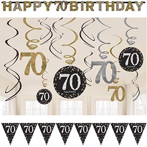 39-teiliges Deko-Set * Zahl 70 - Glitzerndes Happy Birthday * für Geburtstag und Jubiläum | Perfekte Dekoration mit Wimpelkette + Partykette + Deko-Wirbel + Luftballons