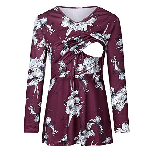 Dames moeder met lange mouwen stijltop dubbel verheven moederschap top borstvoeding bloemen patroon T-shirt tops Small wijn