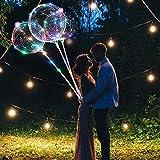 ZMYGOLON 4 PCS Luftballons, 45,7 cm/ 3 m (18 Zoll/9,84 Fuß), LED-Ballons, mit Halterungsstäben, für Geburtstage, Hochzeiten, Feste, Dekoration, Mehrfarbig - 4