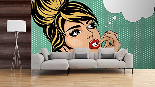 Fotomural Papel Pintado Pared Cómic Chica pensativa | Fotomural para Paredes | Mural | Papel Pintado | Varias Medidas 400 x 300 cm | Decoración comedores, Salones, Habitaciones.