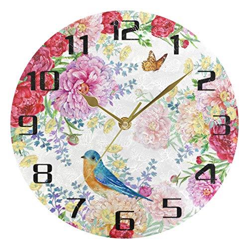 F17 - Reloj de pared redondo con diseño de mariposa de aves y flores de 9.8 pulgadas de PVC creativo decorativo para cocina, dormitorio, baño, sala de estar