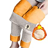 Yagerod Winter Warm Fleece Lined Leggings for Women, High Waist Stretchy Thick Cashmere Leggings Plush Warm Thermal Pants (Beige,M)