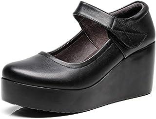 [CAIXINGYI] 春 夏 シングルシューズ ミッドヒール靴 厚底 滑 止 中年 レザーシューズ マザーシューズ 春 秋 くさび ソフトボトム レディースシューズ 作業靴 学生 ハイヒール