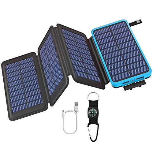 Preisvergleich Produktbild GOODaaa Solar Powerbank 25000mAh,  Solar Power Bank Outdoor mit 3 Ausgängen,  Solar Ladegerät mit Taschenlampen-Kompass für Handy Tablet Smartphone,  Alle USB-Geräte (Blau)