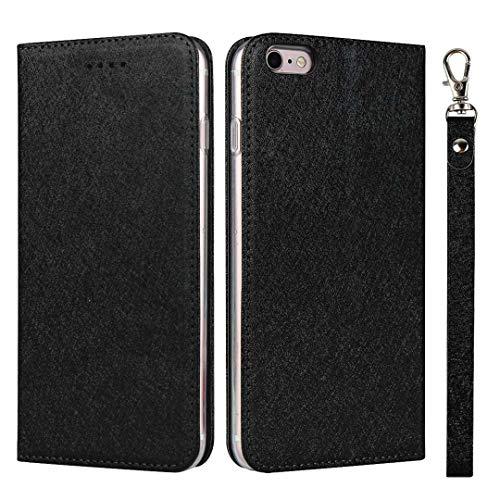 GIMTON Cover iPhone 6 Plus/iPhone 6S Plus, Custodia di Portafoglio con Slot Carte e Cinturino da Polso per iPhone 6 Plus/iPhone 6S Plus, Antiurto Magnetico Cover in PU Pelle, Nero