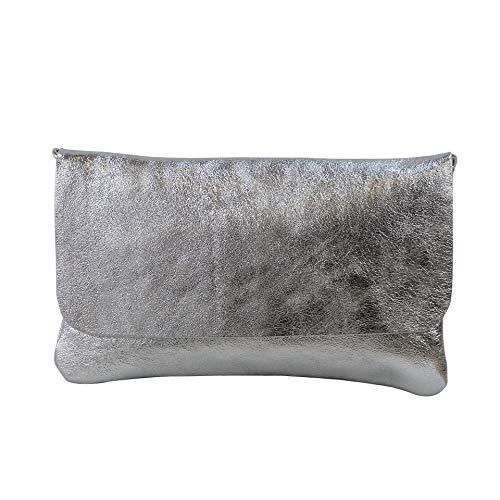 SH Leder Echtleder Umhängetasche Clutch kleine Tasche Abendtasche 24,50x15cm Ely G149 (Silber)