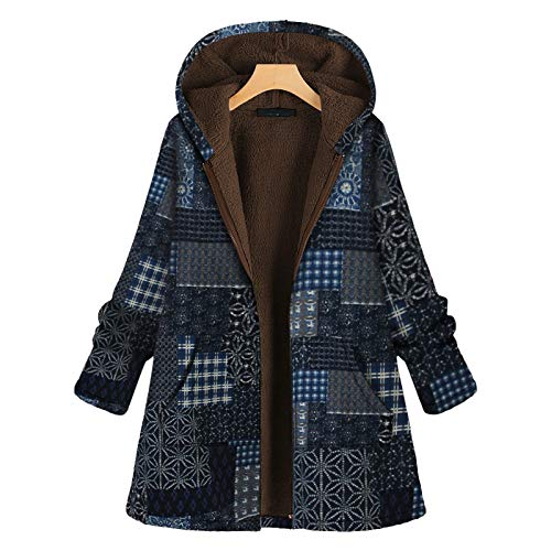 Holywim Women Winter Coat,Fashion Patchwork Single Breasted Vintage Zipper Flowers Print Fleece Hooded Plus Size Long Sleeve Jacket Coat Blue