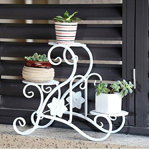 JCRNJSB® Porte-fleurs en fer, balustrade en bois de style européen Porte-fleurs de plusieurs étages 33 × 15 × 30cm Pliable, support de fleurs ( Couleur : Blanc )