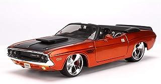 RXX ダッジチャレンジャー1970 /コンバーチブルマッスルカーモデルバースデーコレクション装飾に対応1時24分合金ダイCASTIモデルカー/ (Color : Orange)