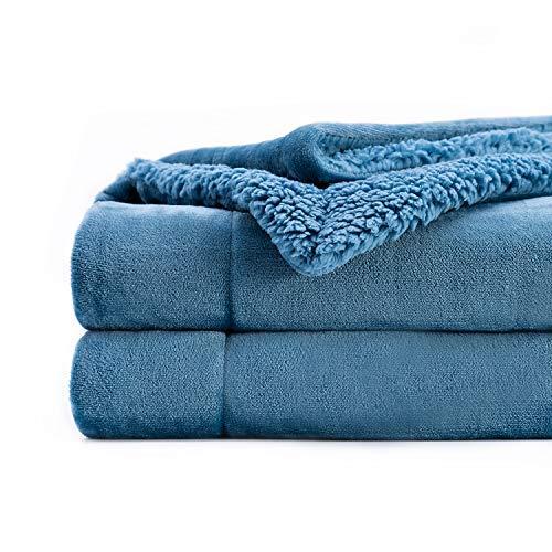 Topblan Sherpa-Fleece-Überwurf, ultraweiche Plüsch-Decke, zweiseitig, für kalte Tage und A/C-Räume, 230 x 230 cm, schieferblau