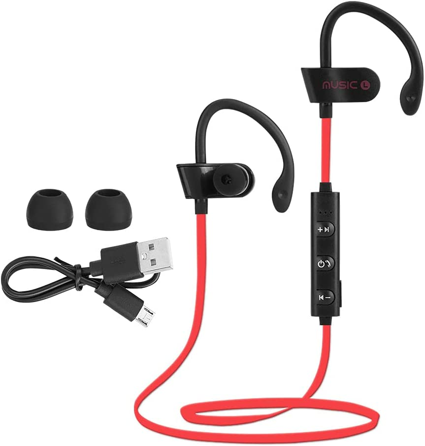 HENGHUAsm Bluetooth Headphones,New Waterproof Wireless Bluetooth Earphone,Stereo Sports Headset, Stereo Sound Design, Let Your Ears Enjoy Listening to Music.(Red)