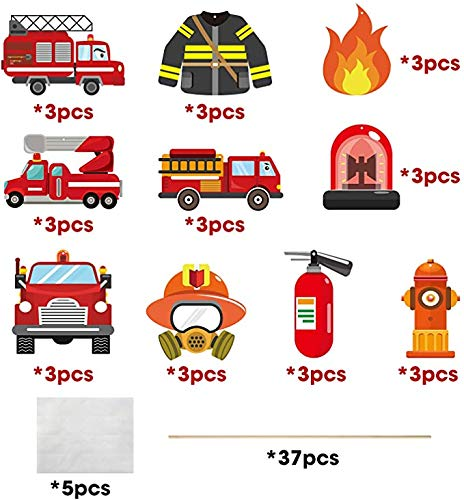 MALLMALL6 30Pcs Fire Truck Centerpiece Sticks Fireman Themed Birthday Party Favor Firefighter Table Topper Decorations Firetruck Fire Hat extinguisher Room Decor Photo Booth Props for Kids Baby Shower
