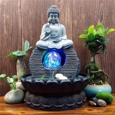 Knoijijuo Südostasiatische Buddha-Statuen Wasserbrunnen Wohnzimmer Luftbefeuchter Desktop Feng Shui Glück Ornamente Hauptdekorationen